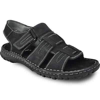 KOZI New Men Leather Sandal NEW DIEGO-06_BLACK With Adjustable Instep Strap
