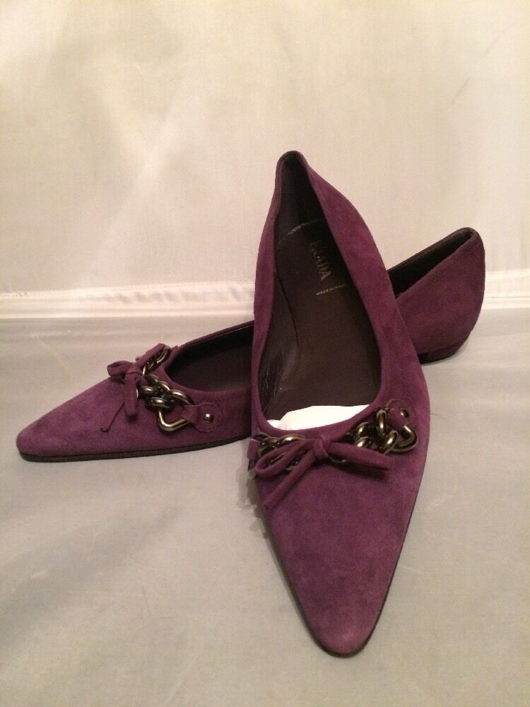 FAB  100% Authentic PRADA PRADA PRADA Suede Leather Pointy Toe Ballet Flats shoes Size 39.5 c24470