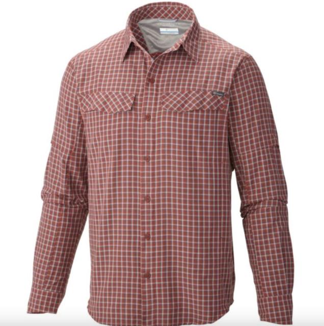 3ab2426d2f0 Columbia Men's Silver Ridge Plaid Long Sleeve Shirt Big size 4X Flame