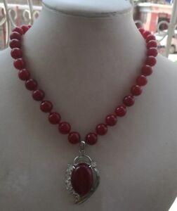 Charmante-10mm-rot-Ruby-runden-Perlen-Edelsteine-Oval-Anhaenger-Halskette-18-034