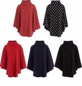 ladies womens fleece poncho capes polo neck anti pill. Black Bedroom Furniture Sets. Home Design Ideas