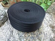 50mm (2 inch) Nylon Black Herringbone weave Webbing Tape
