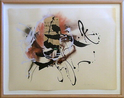 CAROL HUNT CA b 1942 PAFA ABSTRACT DATED 1988 IMPROVISATION MIXED MEDIA COLLAGE