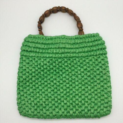 Vintage Green w/ Wood Handle Woven Marchioness Pur