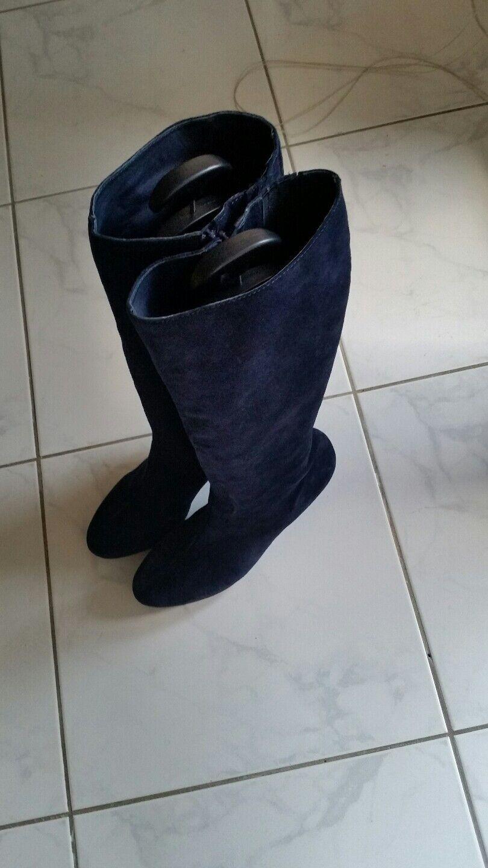 Ragazzi Milano Damen Stiefel Gr 42 Blau Nubukleder wNeu