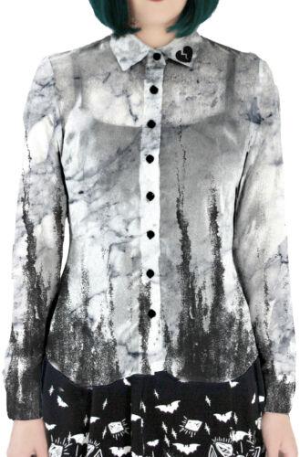 Distressed Gothic Narcissa Chiffon Illustration Fearless Heartbreak Bluse ZqP7A