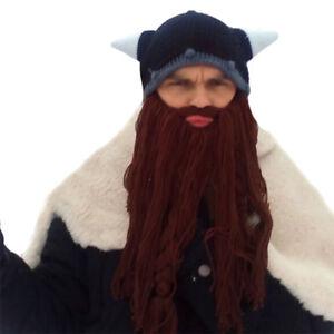 Hiver-Chapeau-Viking-Barbe-Barbare-Vagabond-Cool-Beanie-Corne-Bonnet-Barbe-Chaud
