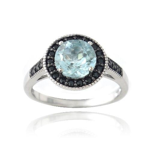 argent 925 1.6ct Topaze bleu /& Noir SPINELLE anneaux ronds