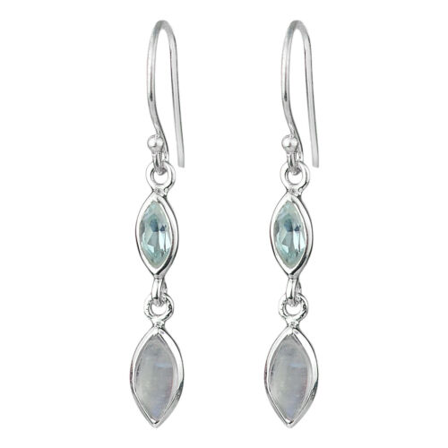 Blue Topaz gemstone earrings jewelry 2.16 925 Sterling Silver Rainbow moonstone