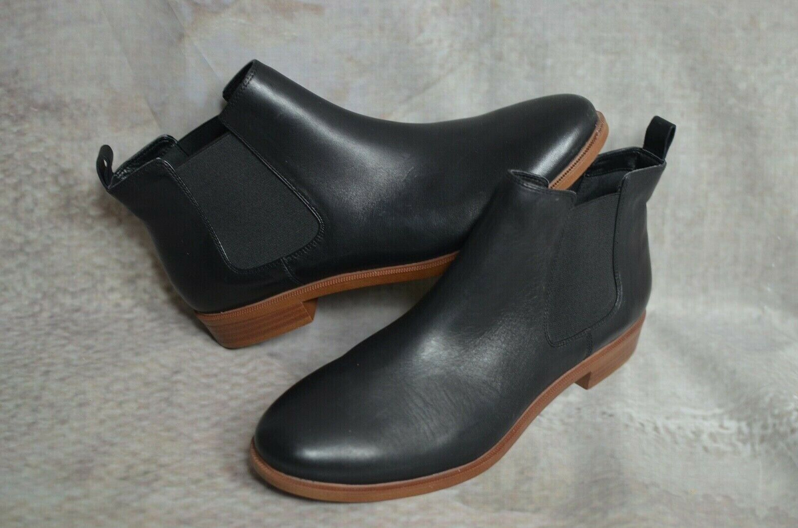 Current £69 new CLARKS Somerset TAYLOR schwarz leather chelsea ankle Stiefel 7.5 D