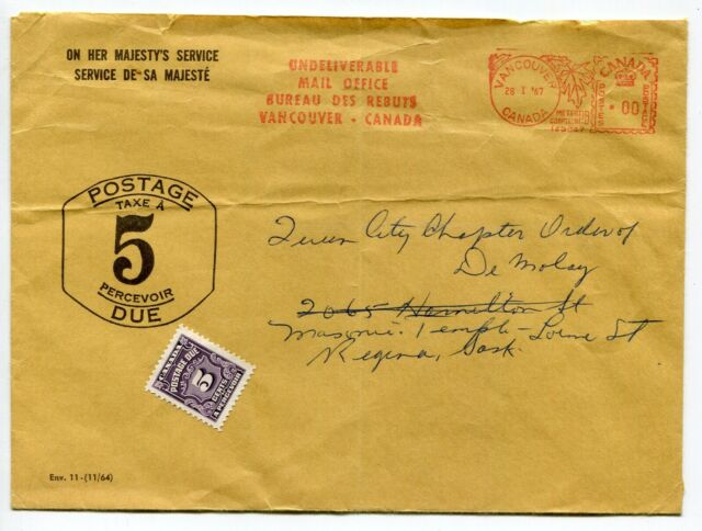 Canada DLO Dead Letter Office - Vancouver BC 1967 Postage Due Cover - No Flap