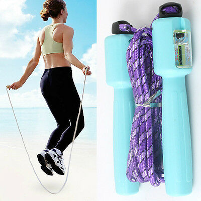 Adjustable Digital LCD Handle Jumping Skipping Rope Counter Timer Gym Fitness