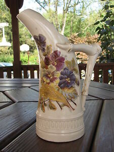 Antique-Hand-Painted-Royal-Worcester-Ewer-Pitcher-Tusk-Form-Flowers