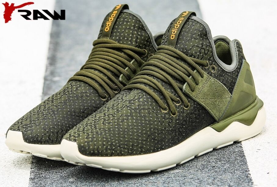 NUOVO Adidas Originals Runner  Verde Uomo Tubular Cinturino Intreccio Verde  5d5360