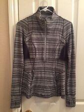 Women's LULULEMON  Gray/White Striped Half-Zip Luon Sweatshirt Size 6