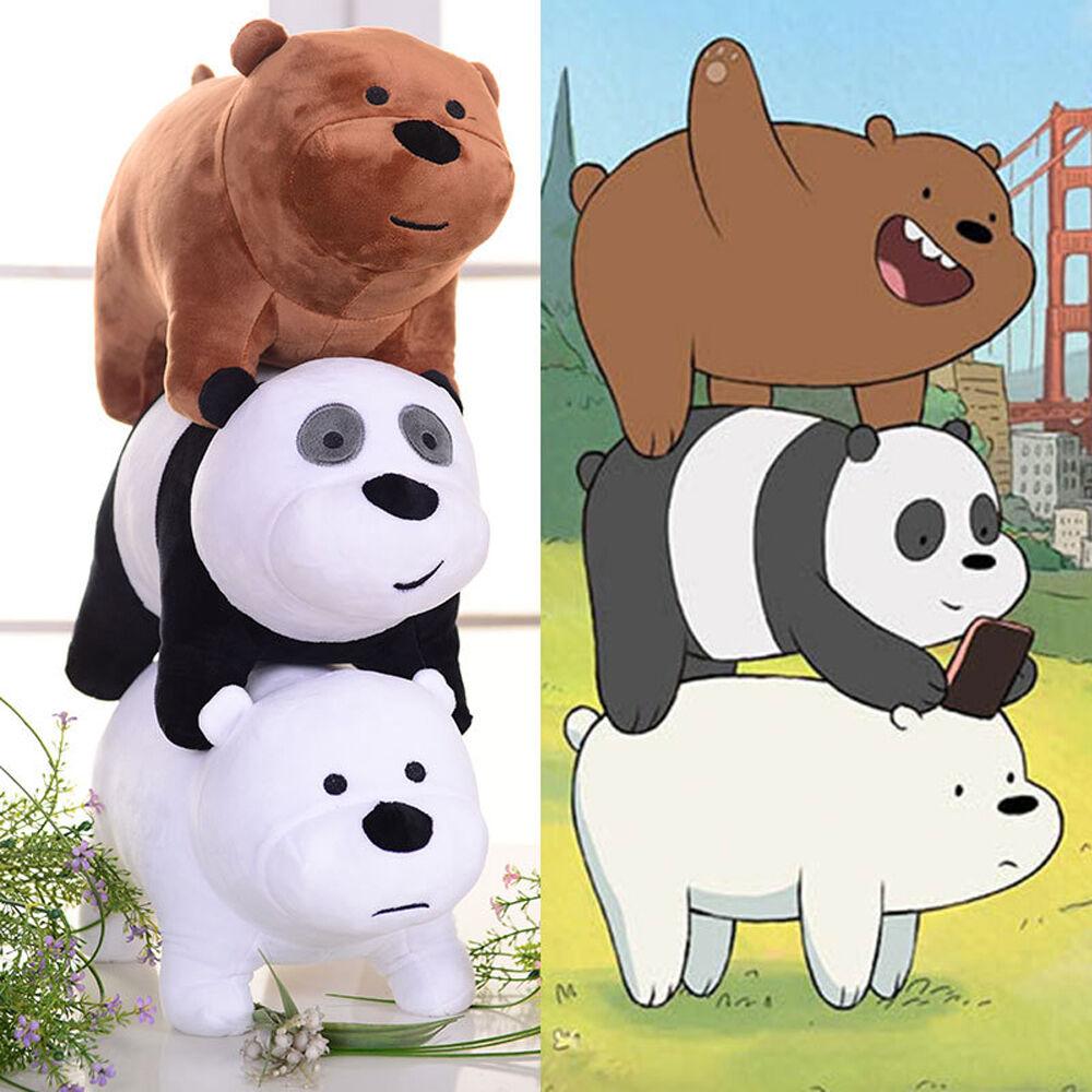 3pcs We Bare Bears Plush Toy Grizzly Panda Ice Bear