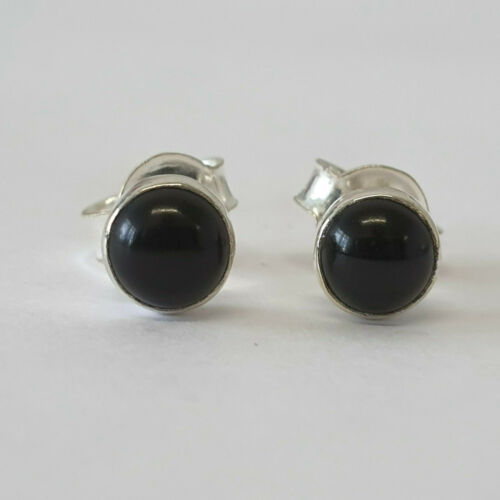 Stud Earrings in 925 Sterling Silver with Authentic 5mm Black Onyx