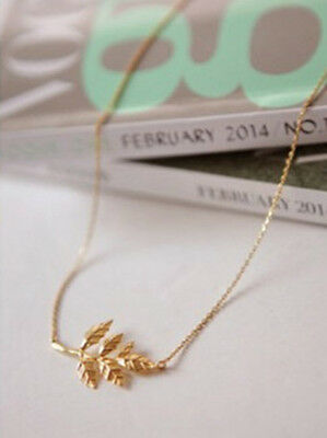 Korean Style Celebrity Simple Charms Gold Leaf Chain Pendant Necklace Lady Gift