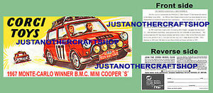Corgi-Toys-339-Mini-Cooper-Monte-Carlo-1967-Instruction-Leaflet-amp-Poster-Sign