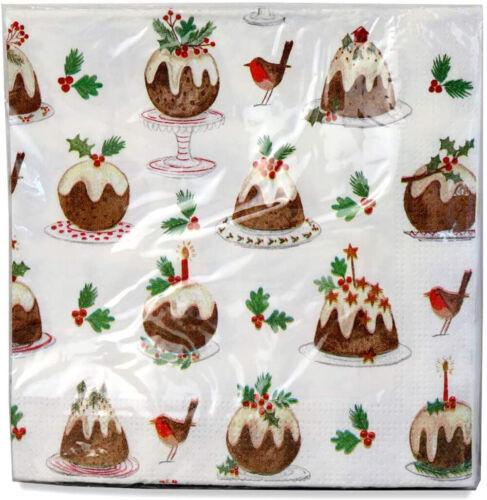 20 x Gisela Graham Plum Pudding Paper Napkins 3 ply
