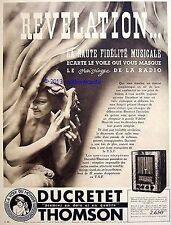PUBLICITE DUCRETET THOMSON LA VOIX DU MONDE RADIO RECEPTEUR T.S.F 1935 FRENCH AD