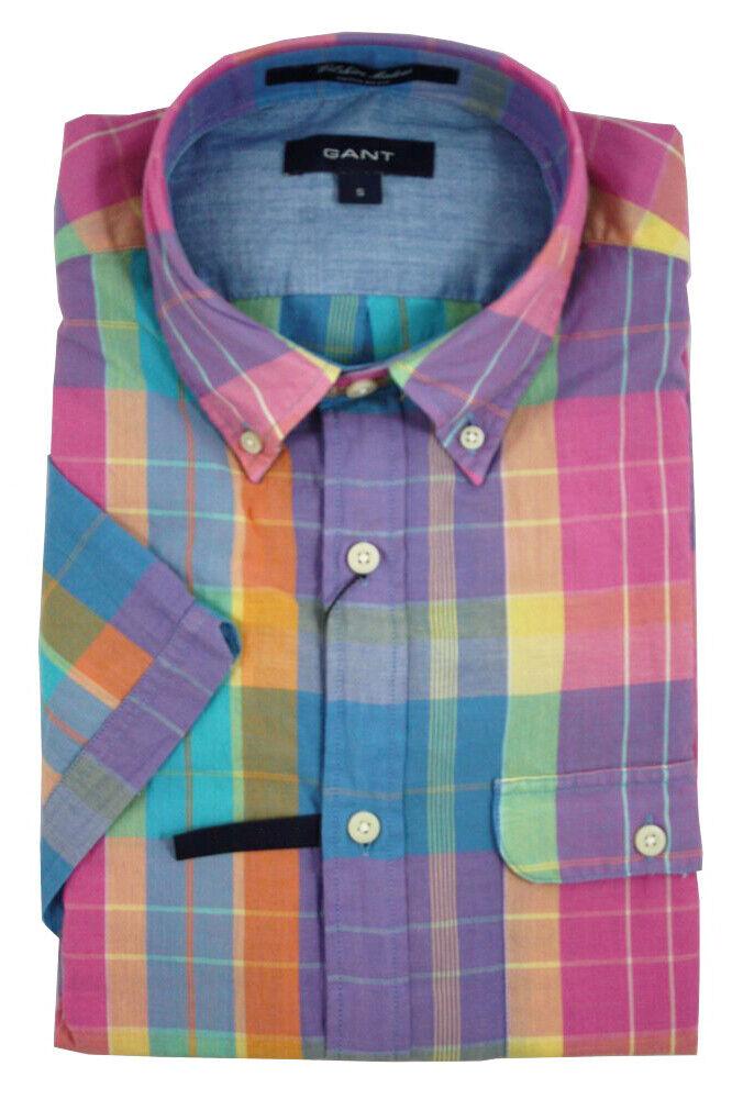 Gant Uomo Ametista Wilshire Madras Camicia a Quadri Quadri Quadri 343392 M f333bd