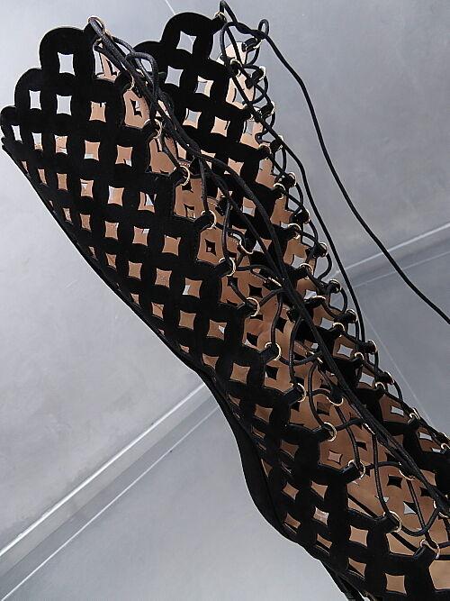NEU HOHE Lang Stiefel 1 cm Plateau Damen Luxus Stiefel O43 Schuhe High Heels 35