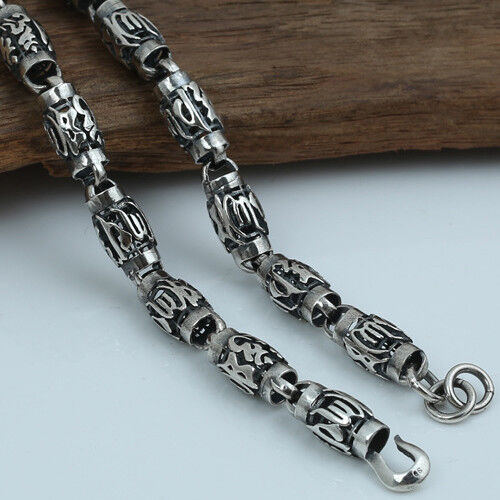 """Heavy Solid 925 Sterling Thai Silver Cylinder Lection Chain Necklace 8mm 20/""""-26/"""""""