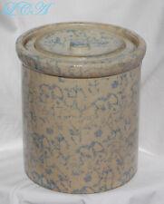 Beautiful ANTIQUE spongeware MONTANA Prison Made BUTTER CROCK w/ ORIGINAL lid
