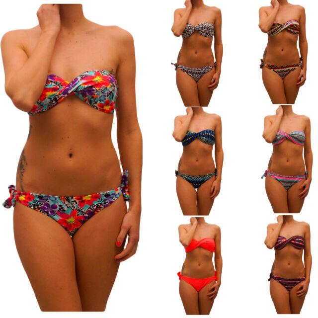 Sexy Twist Push Up Bandeau Bikini Gr. 34/XS, S - 40/L  Muster, Designer A,B,C