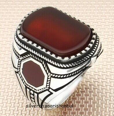 mens ring,red agate  rings,mens gift,father gift turkish jewelry men jewelry silver,handmade jewelry,mens ring