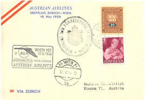 LIECHTENSTEIN-1958-sehr-selt-Zuleitung-aus-Vaduz-zum-AUA-Erstflug-Zuerich-Wien