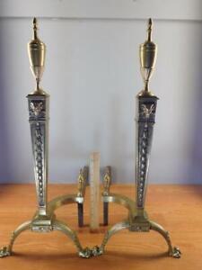 Pair-Antique-Ornate-Neo-Classical-Brass-Rams-Head-Paw-Feet-Andirons-28-039-039-High