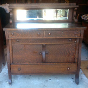Antique Oak Buffet Sideboard With Beveled Mirror Estate