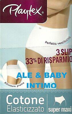 N.3 SLIP PLAYTEX IN COTONE SUPER MAXI DONNA ART. P00BR VITA ALTA 3 4 5 6 7 8 9