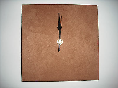 FAUX SUEDE WALL CLOCK, HANDMADE 30CM SQUARE, BROWN, CREAM, WHITE, RED, PURPLE