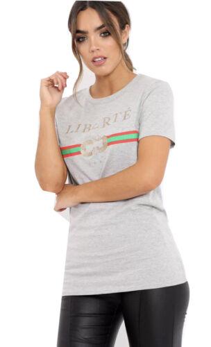 Ladies Women Guilty Liberte Queen Casual Top Slogan Striped Bonjour T-Shirt Vest