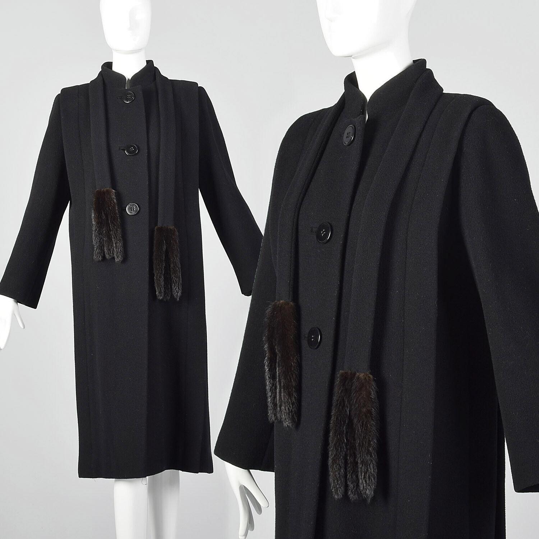 Small 1980s Pauline Trigere Coat Black Wool Winte… - image 1