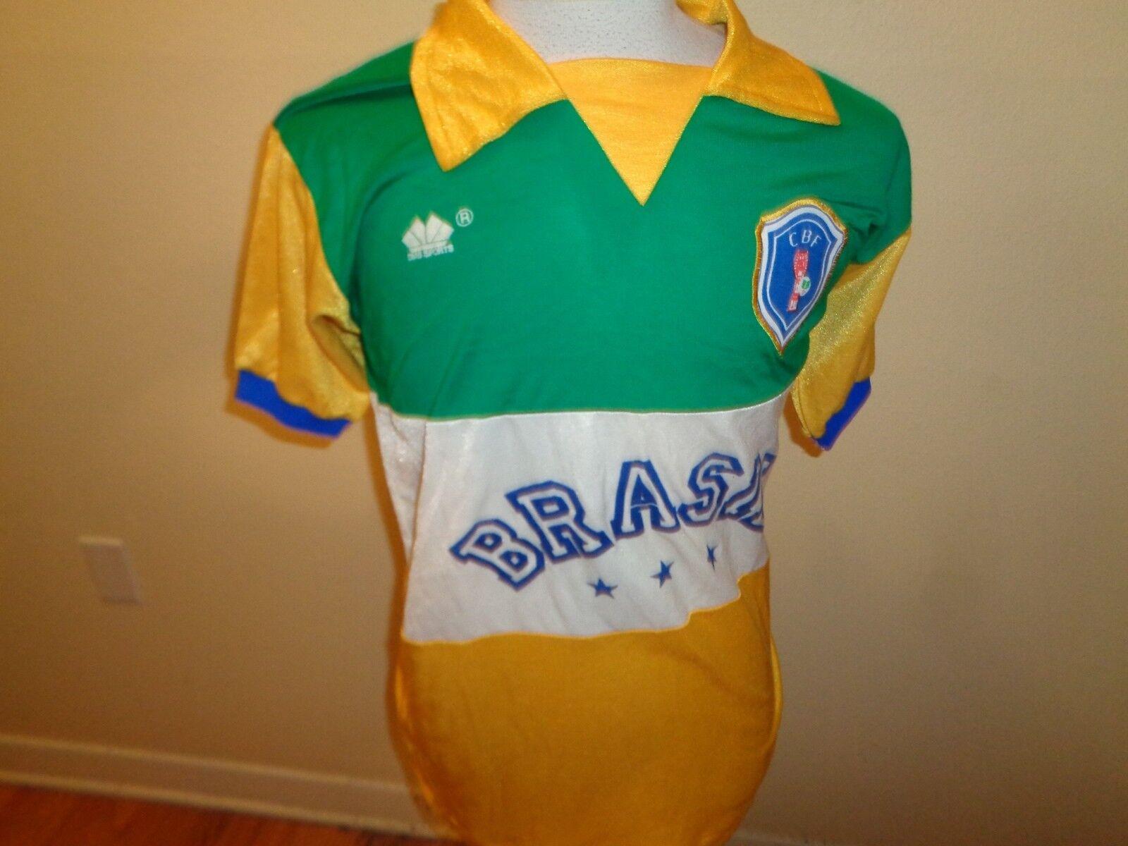 80s Large  Herren VTG CBF Brasil Brazil  10 Dias Sports soccer jersey shirt 2-sided