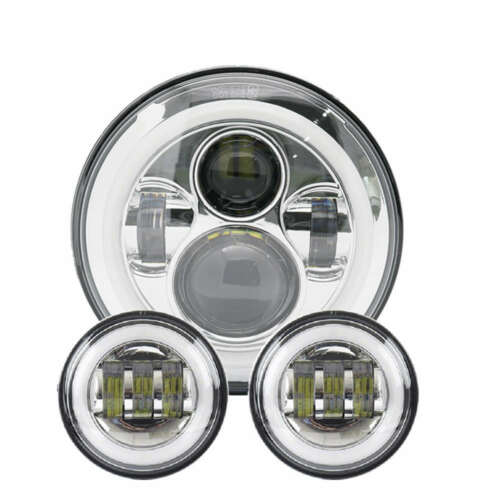 """4.5/"""" Passing Lights For Harley Chrome DOT 7/"""" LED Projector Motorcycle Headlight"""