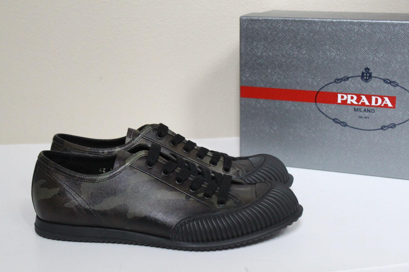 Sz 8 US   7 UK Prada Americas Camo Leather Rubber Toe Lace up scarpe da ginnastica MEN scarpe