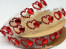 RED HEART IN A HEART DESIGN STICK ON ADHESIVE STRIPS FULL 1M ROLL EMBELLISHMENTS