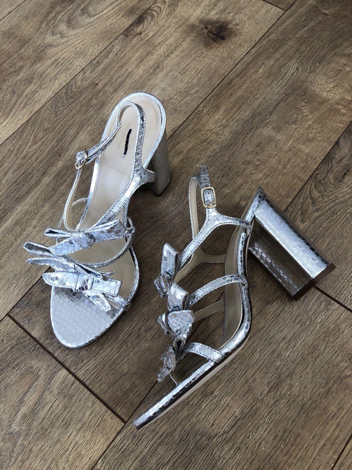 New JCrew Collection  218 Stella Bow Heels (100mm) in Metallic Silber Sz 8 H5569