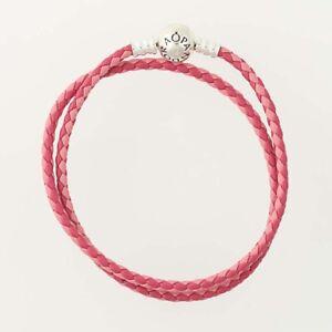 Details about NEW Authentic Pandora Double Woven Pink Leather Bracelet 15