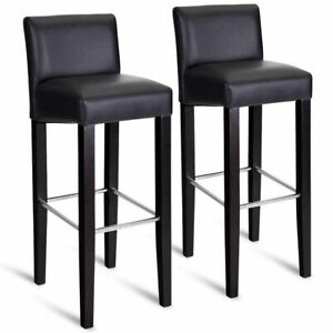Excellent Details About Set Of 2 Bar Stool Pub Chair Bar Height Stool Padded Seat With Solid Wood Legs Machost Co Dining Chair Design Ideas Machostcouk