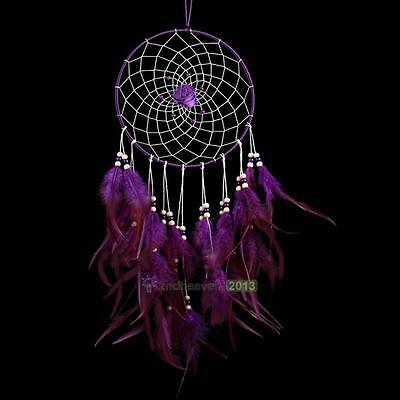 New Handmade Purple Rose Dream Catcher with feather wall Hanging Decor Ornament
