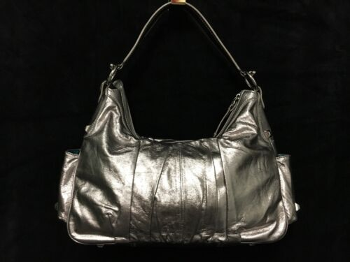 Bravo Msrp300 Metallic Nwot Bag Beverly Hills Collection Silver Leather yYbf76g