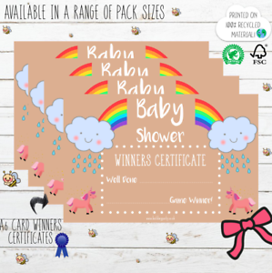 Baby Shower Winners Certificate Kraft NEW Prize Game Gift Boy Girl 10-50
