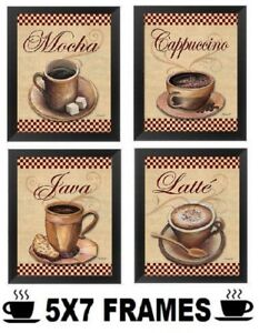 Coffee-Pictures-5x7-Cappuccino-Mocha-Wall-Hanging-Kitchen-Diner-Home-Decor