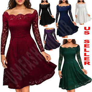 Women-039-s-Vintage-Lace-Boat-Neck-Formal-Wedding-Cocktail-Evening-Party-Swing-Dress